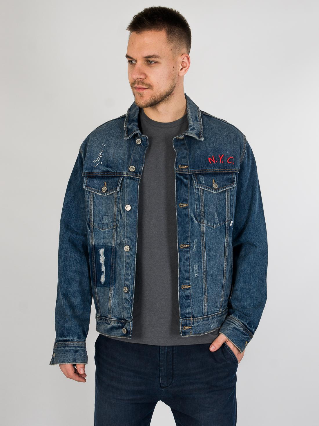 Джинсовая куртка с принтом H&M 592828 Синий Free Style