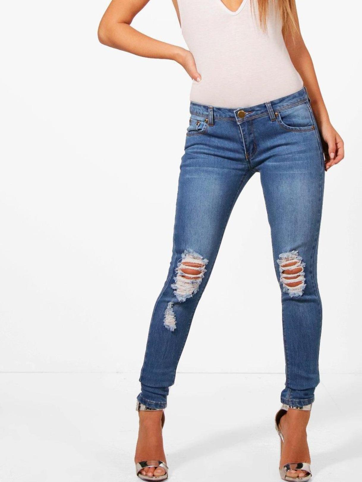 Рваные джинсы скинни Boohoo EA9842  Синий Free Style