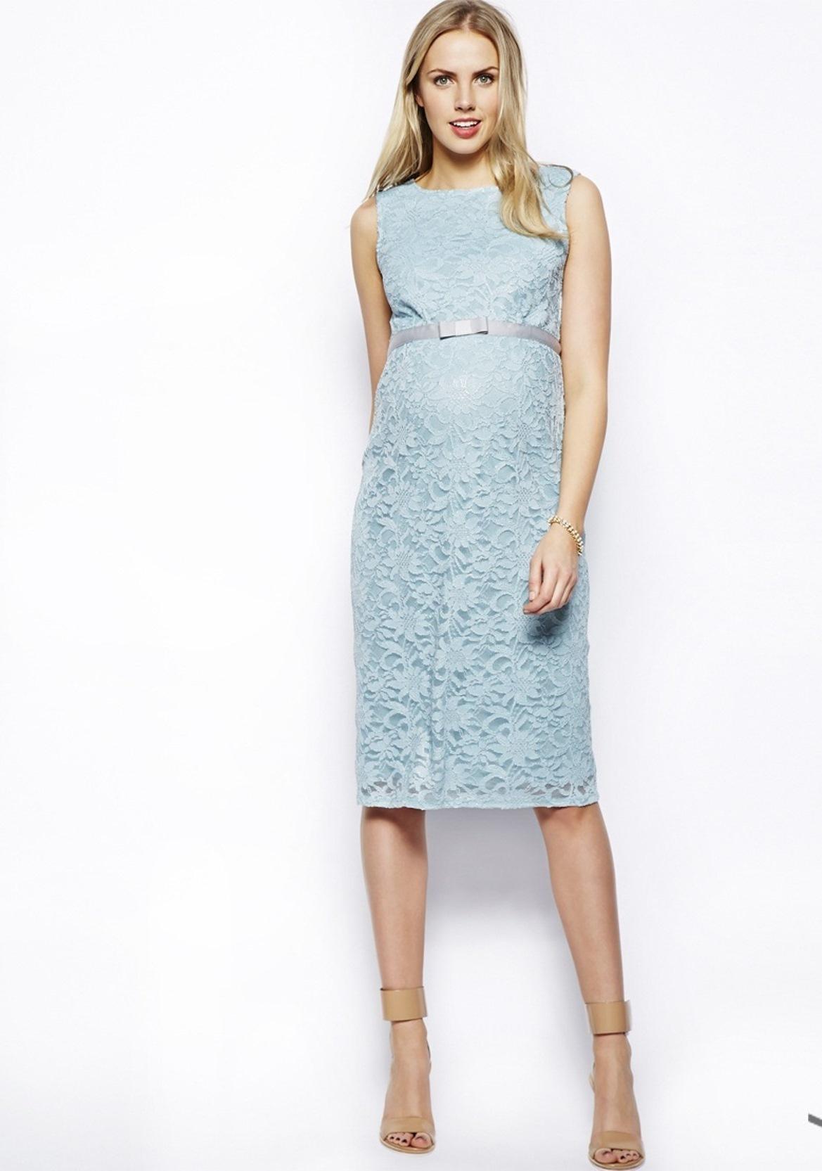 Эксклюзивное кружевное облегающее платье для беременных ASOS Голубой Free Style