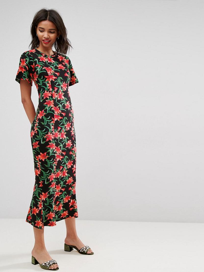 Чайное платье макси с открытой спиной ASOS Черный Free Style