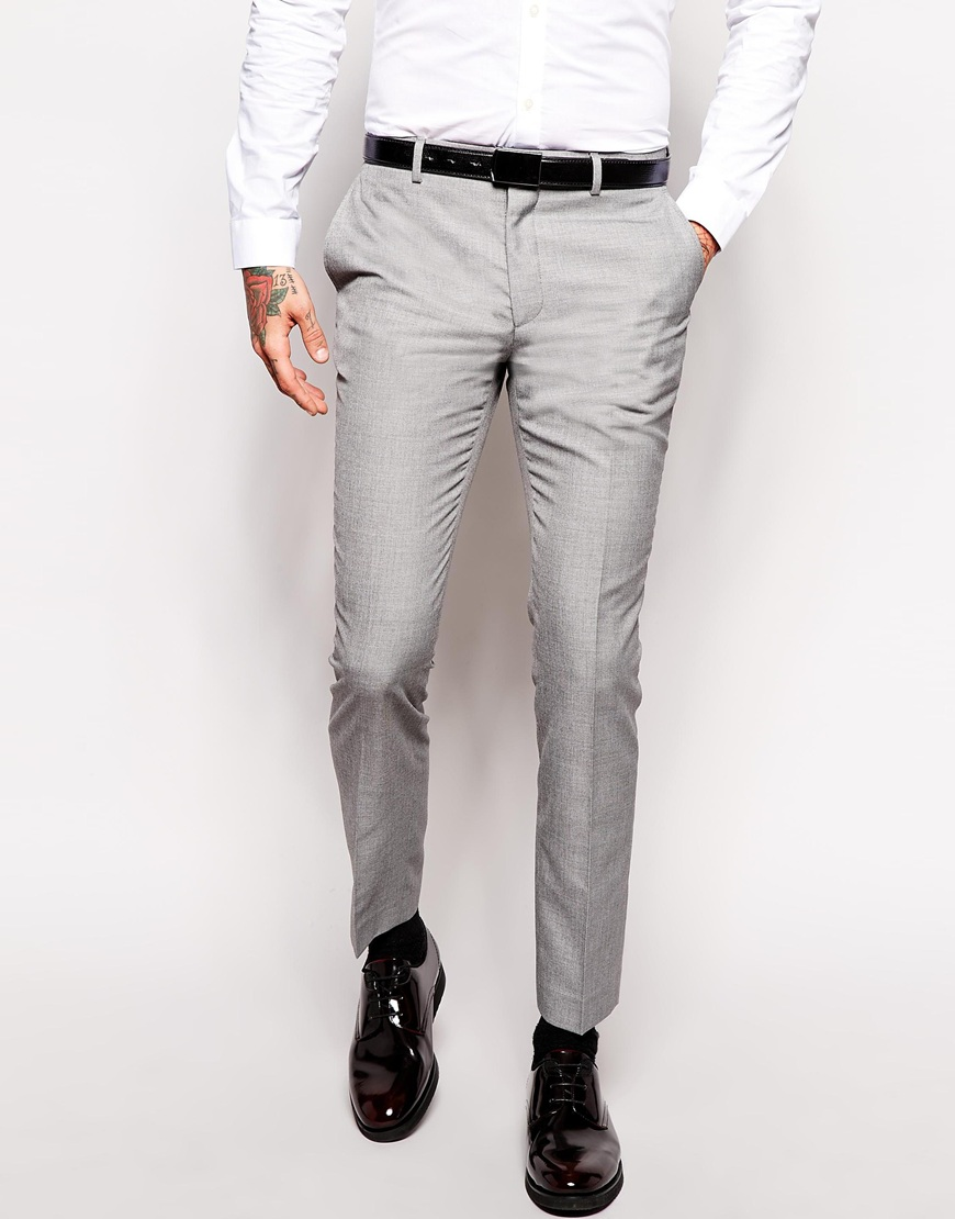 Брюки слим ASOS AS410855 Серый Free Style