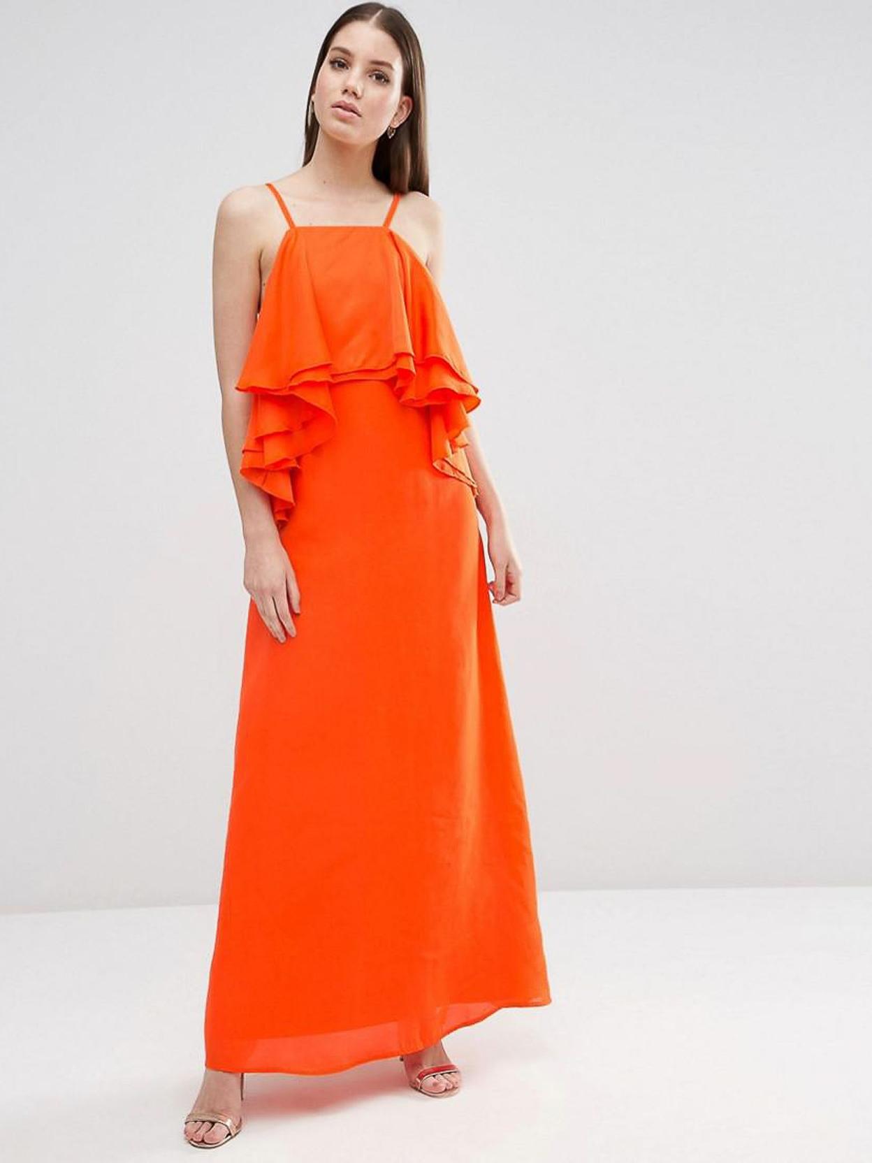 Яркое платье макси с воланами ASOS Оранжевый Free Style