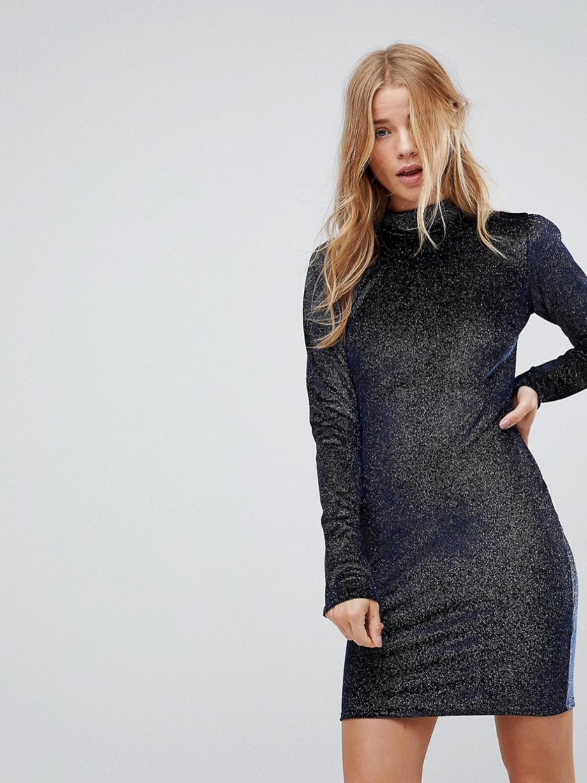 Гламурное высокое облегающее платье с высоким воротом и блестящим бархатом Glamorous AS100620-70 Синий Free Style