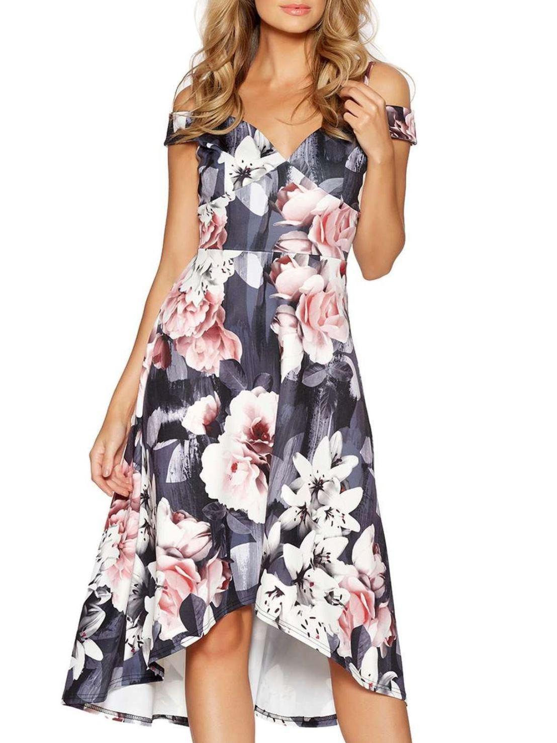 Цветочное платье c декольте Quiz Серый Free Style