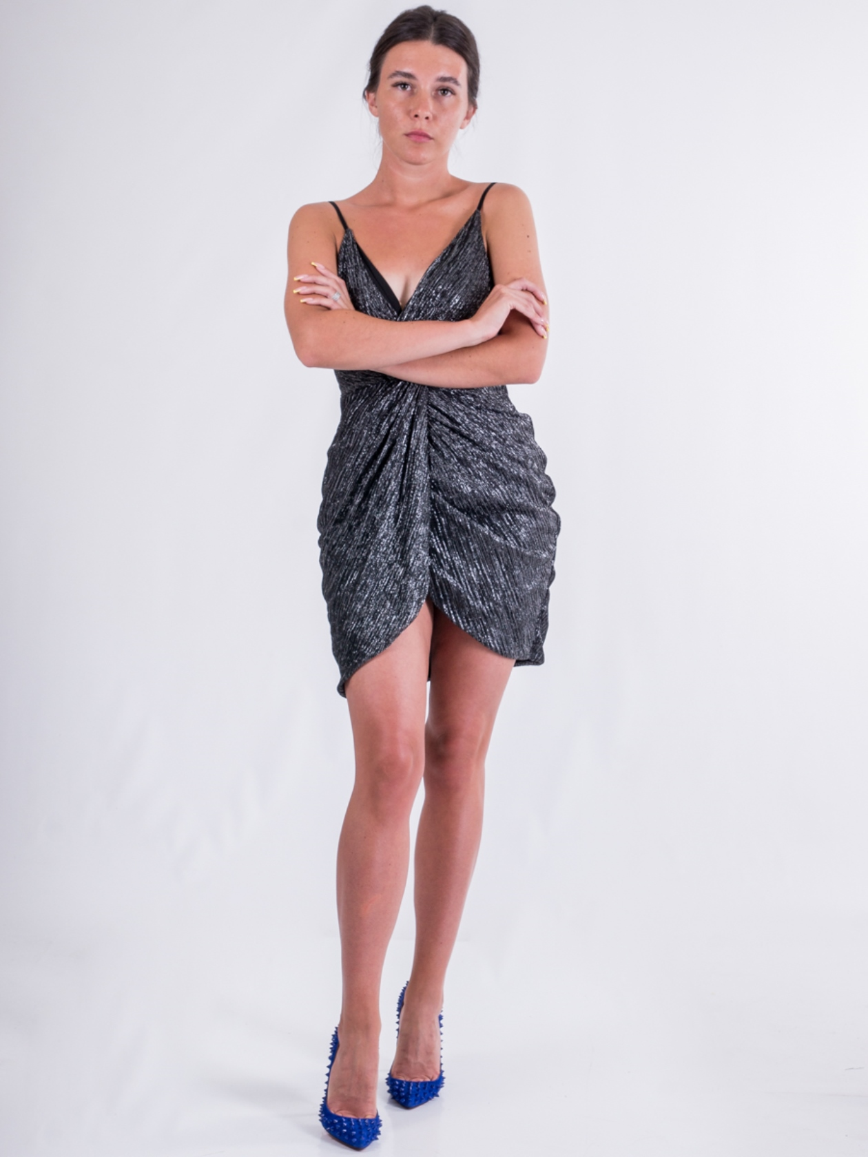 Яркое мини платье с металлизированной нитью Lipsy Серый Free Style