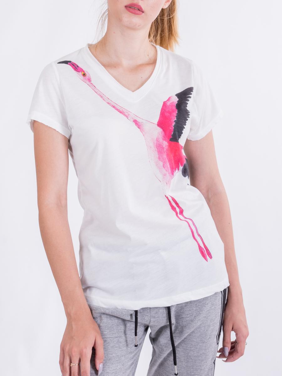 Футболка с принтом фламинго BEBE PLUS 23406  Белый Free Style