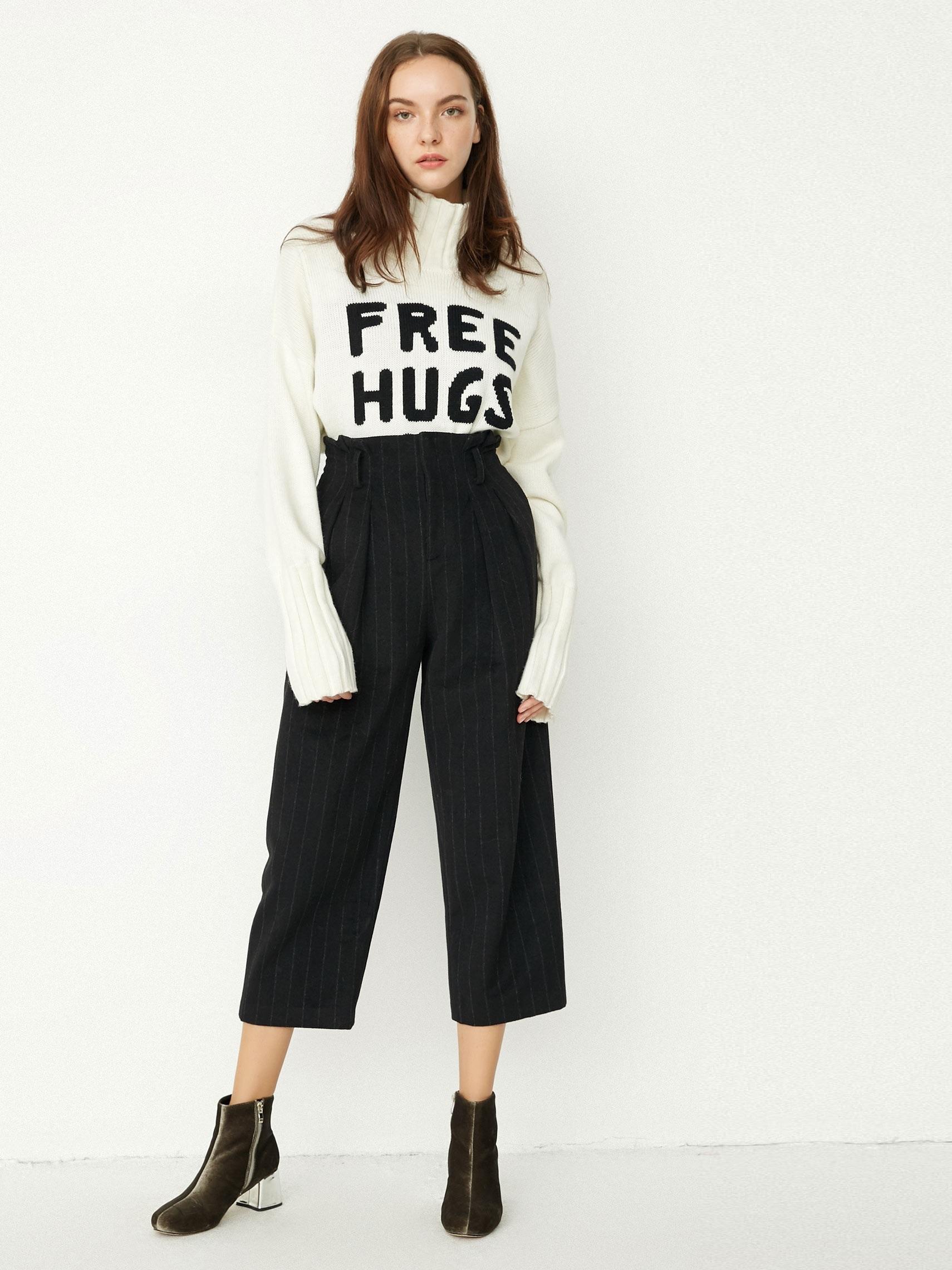 Шерстяные брюки в полоску с высокой посадкой Only Черный Free Style