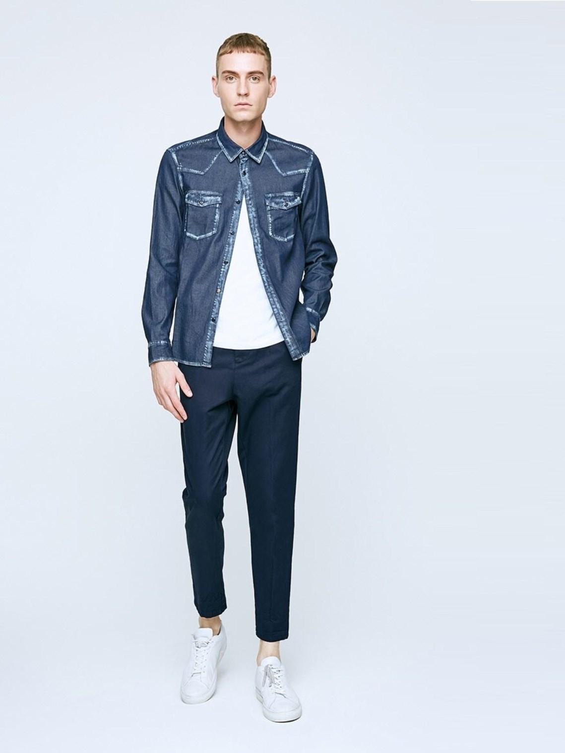 Хлопковая джинсовая рубашка с длинным рукавом Jack & Jones Синий Free Style