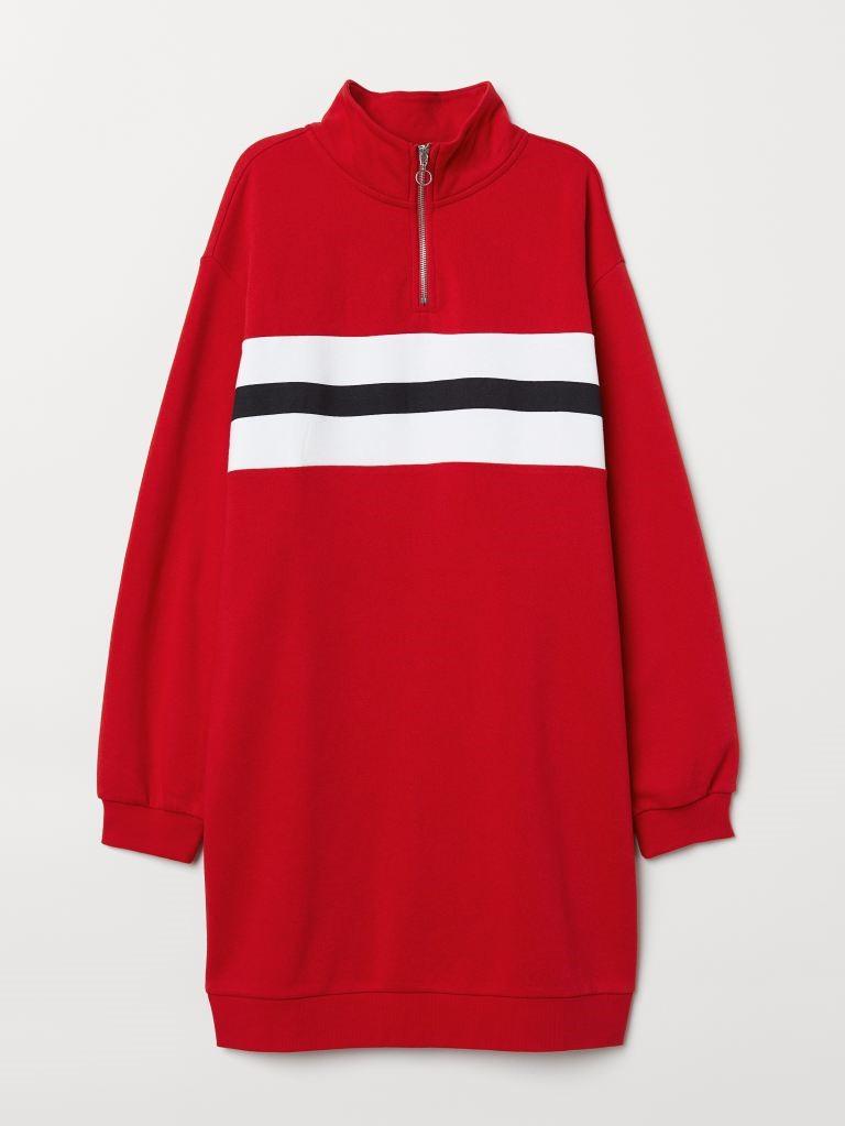 Платье-свитшот с воротником стойкой и молнией сверху H&M 0678064 S (58738S) Красный Free Style