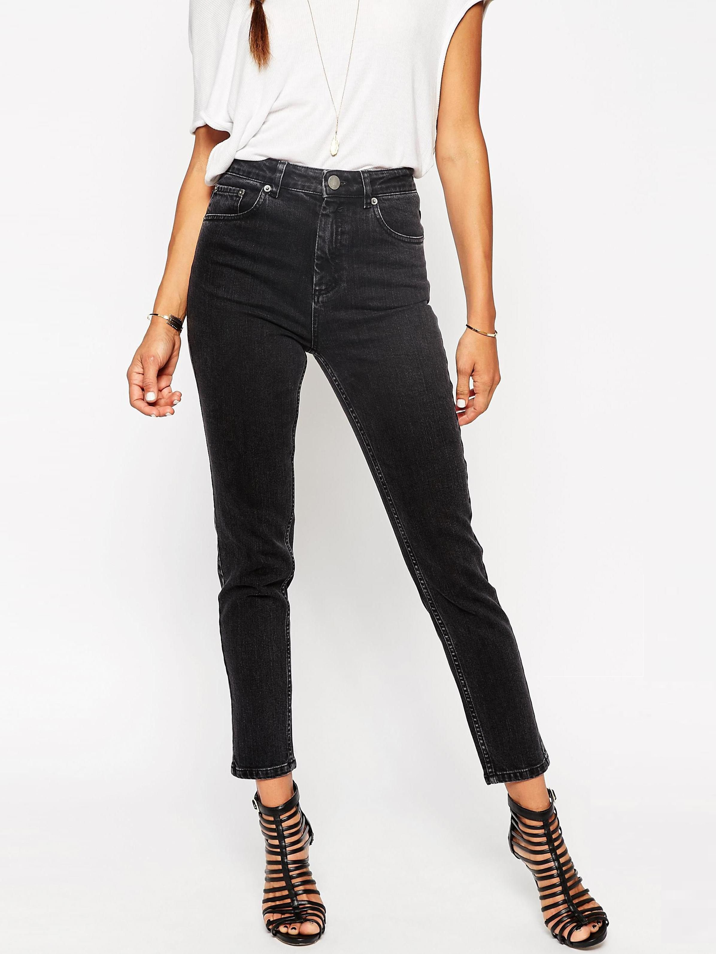 Черные зауженные джинсы с завышенной талией ASOS ASA010920-2 Черный Free Style