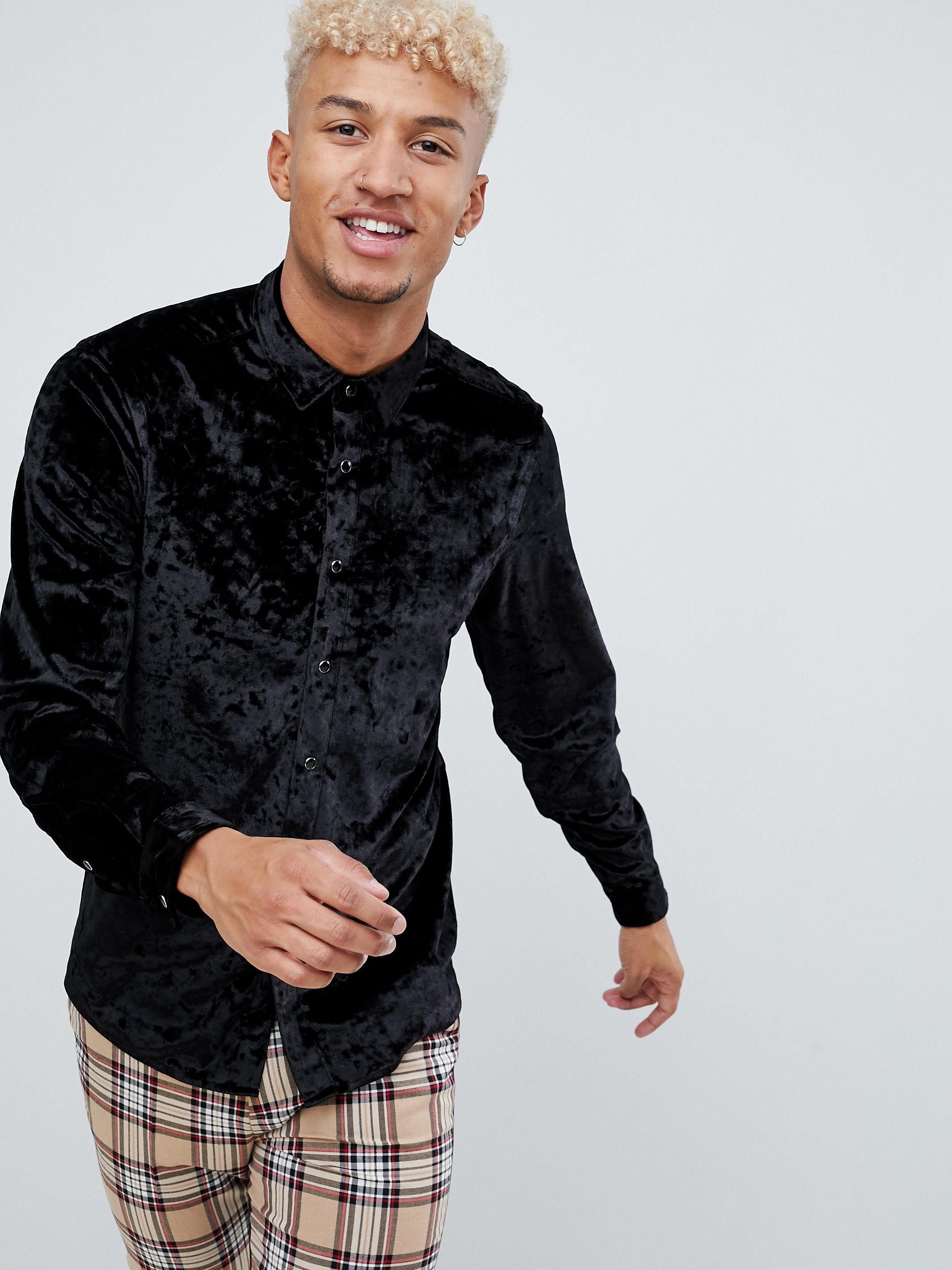 Черная рубашка из мятого бархата обычного кроя ASOS Черный Free Style