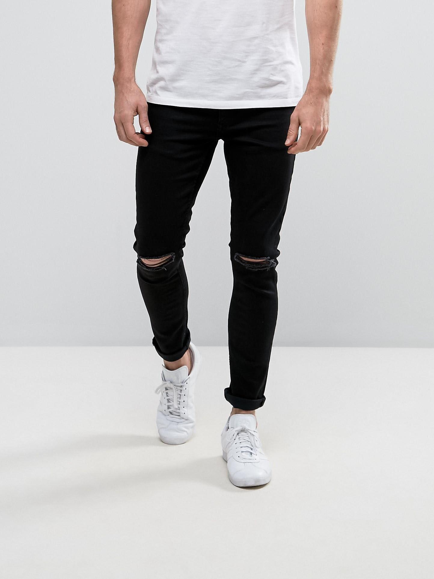 Черные джинсы супер скинни с разрезами на коленях Your Turn Черный Free Style