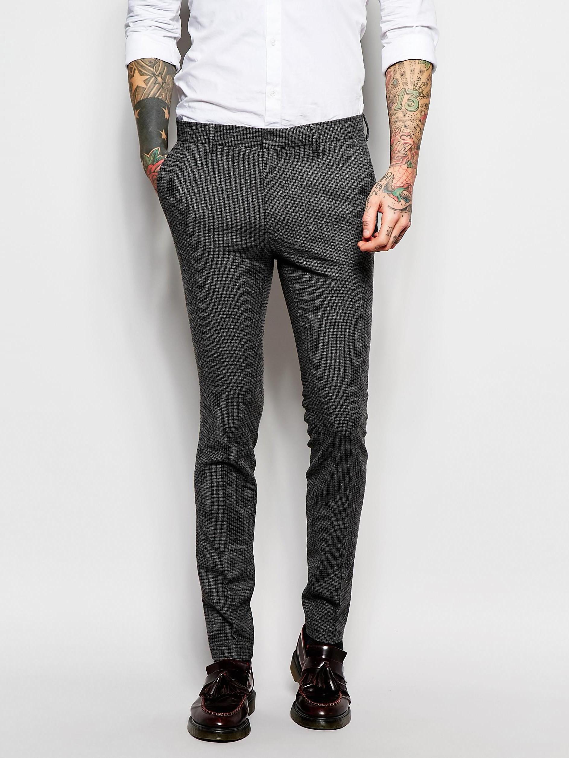 Супероблегающие брюки с узором в гусиные лапки ASOS ASA020920-12  Серый Free Style