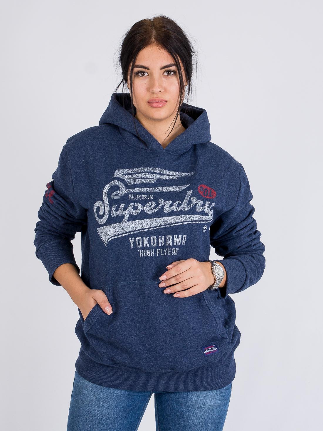 Худи на флисе Superdry Синий Free Style