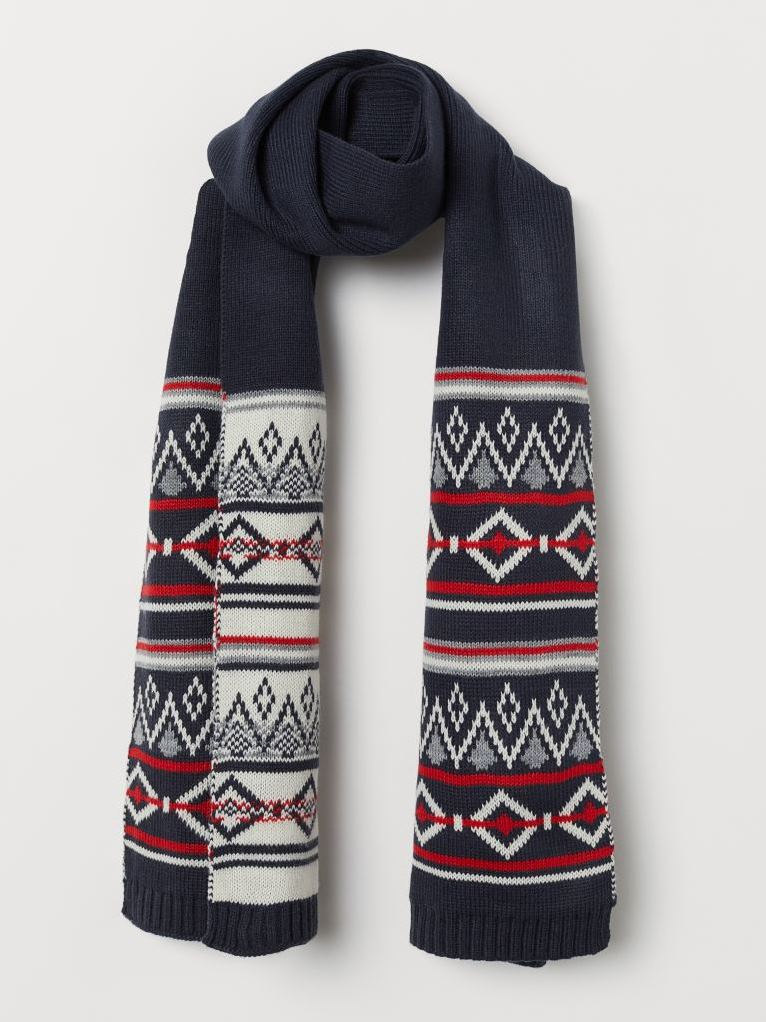 Вязаный шарф H&M 0706960 Синий Free Style