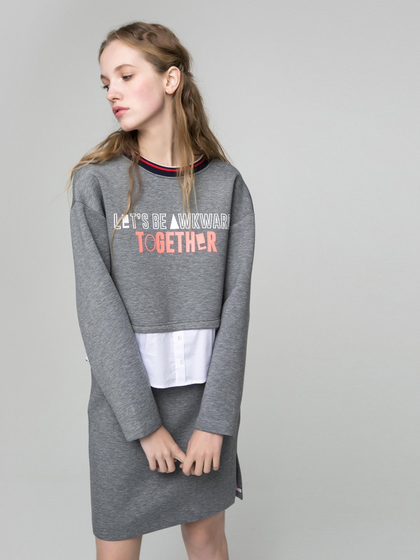 Комплект из свитшота-рубашки и юбки Only 117107503 Серый Free Style