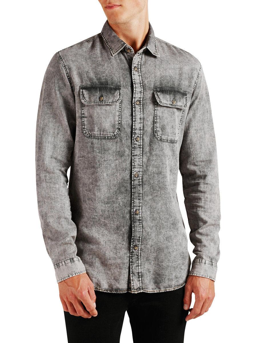 Джинсовая рубашка Jack & Jones VY-150816-028 Серый Free Style
